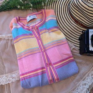 Ballantyne Pastel Silk Cotton Cardi Cardigan M